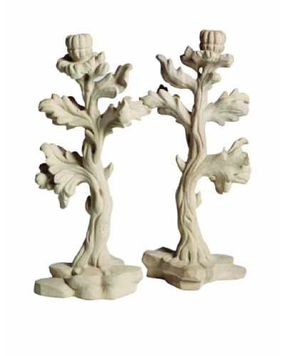 Studio A Pair of Bloom Candleholders, Sandstone Finish