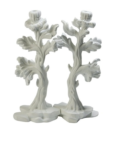 Studio A Pair of Bloom Candle Holders, White