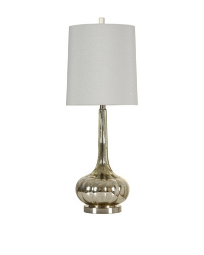 StyleCraft Glass Table Lamp, Mercury Silver/Brushed Steel