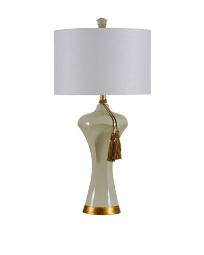 StyleCraft Bust Form Table Lamp with Tassel, Satin Ivory/Vintage Gold