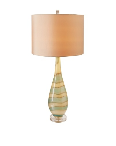 Stylecraft Where Water Meets The Sand - Art Glass Table Lamp with Clear Crystal Base