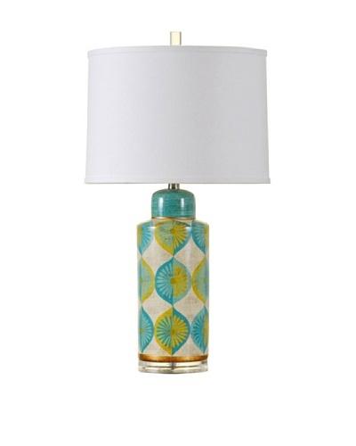StyleCraft Indigo Toned Daisy Design Ceramic Table Lamp, Daisy Devine