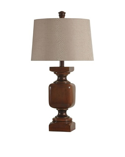 StyleCraft Federal-Style Table Lamp with Textured Shade, Mocha/Bancroft