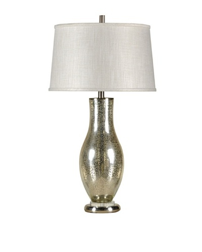 StyleCraft Steel/Glass Table Lamp, Mercury Silver/Brushed Steel