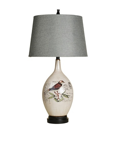 StyleCraft Hand-Painted Bird Ceramic Table Lamp, Isabelle