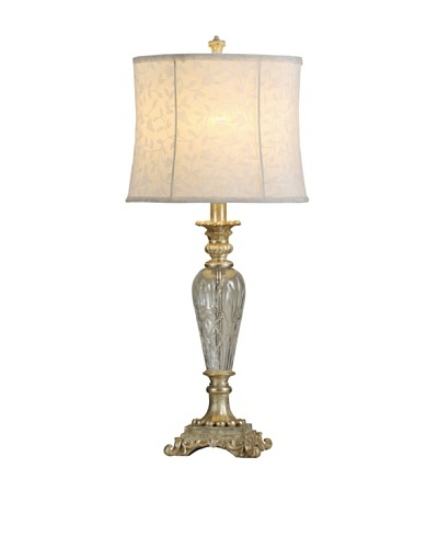 StyleCraft Glass/Poly Table Lamp, Savory Silver