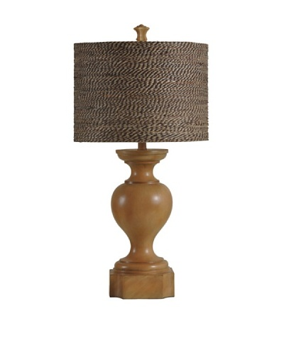 StyleCraft Abundant Balustrade Design Table Lamp with Designer Shade, Highlands Pine