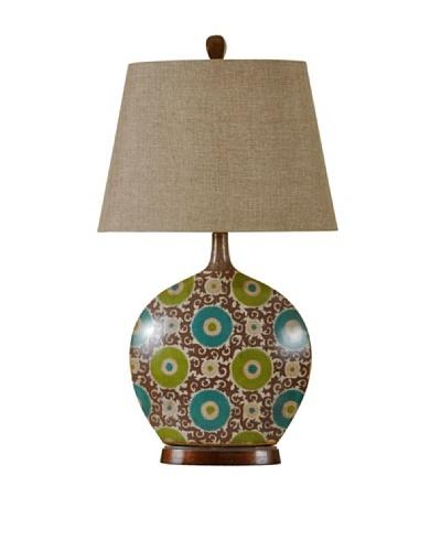 StyleCraft Aboriginal Art-Inspired Ceramic Table Lamp, Urban Suzanne