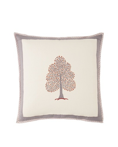 Suchiras Tree of Life Euro Sham, White/Grey/Red, 26 x 26