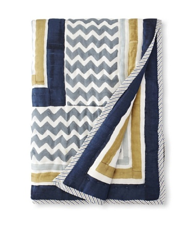 Suchiras Indigo Throw, Navy Blue/Light Blue/Beige, 60 X 45