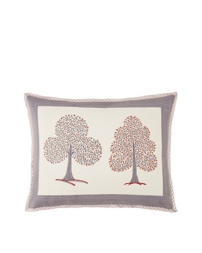 Suchiras Tree of Life Sham, Grey/Orange Red, Standard