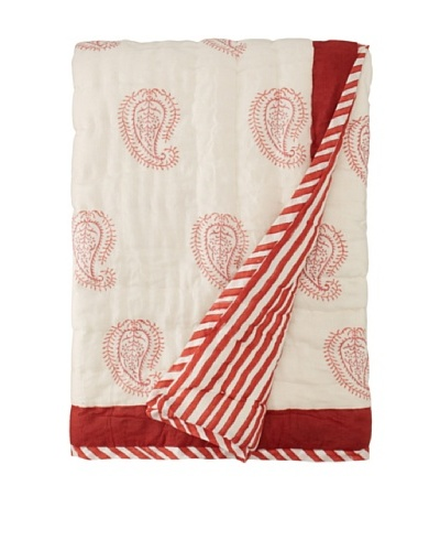 Suchiras Red Paisley Throw, Red, 45 x 60