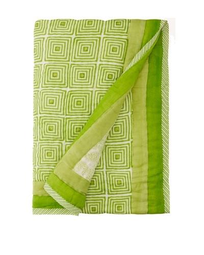 Suchiras Green Paisley Throw, Spring Green, 45 x 60
