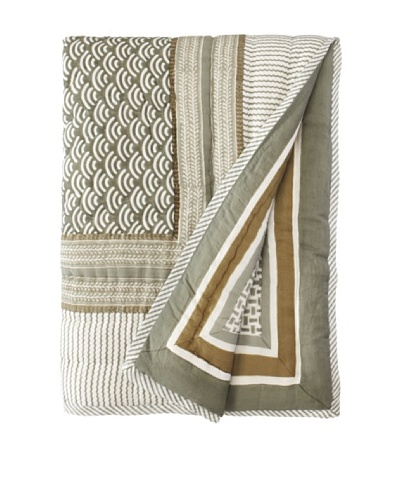 "Suchiras Harbor Fog Throw, Green/White, 60"" X 45"""