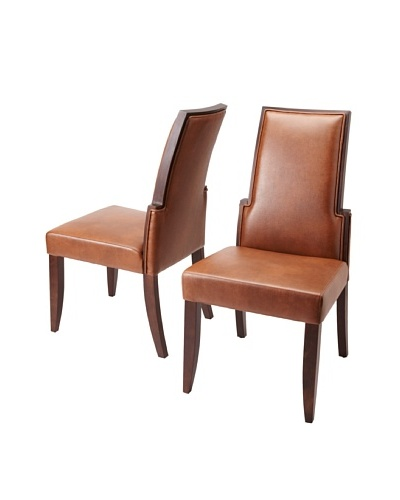 Sunpan Set of 2 Lafayette Chairs, Cognac