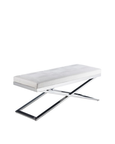 Sunpan Crawford X-Base Bench, Croco White