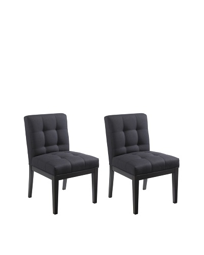 Sunpan Set of 2 Felicia Dining Chairs, Charcoal