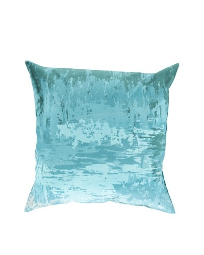 "Surya Watercolor-Inspired Throw Pillow, Blue/Turquoise, 22"" x 22"""