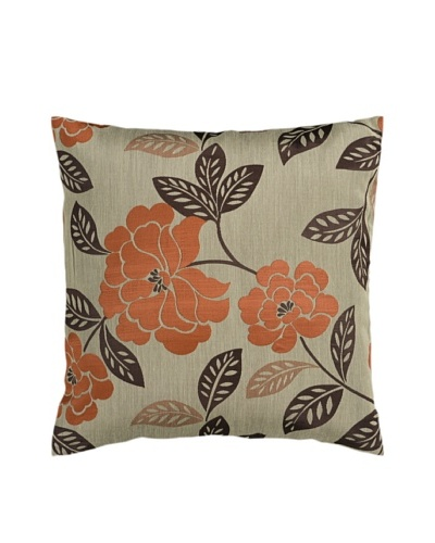 Surya Floral Throw Pillow, Seal Brown