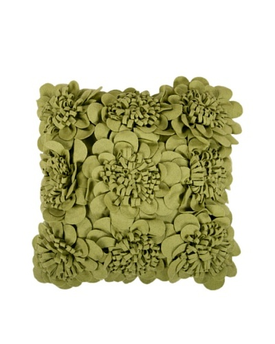 Surya Flower Throw Pillow, Green Olive