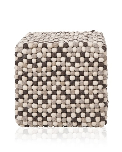 Surya Dot Pouf, Brown