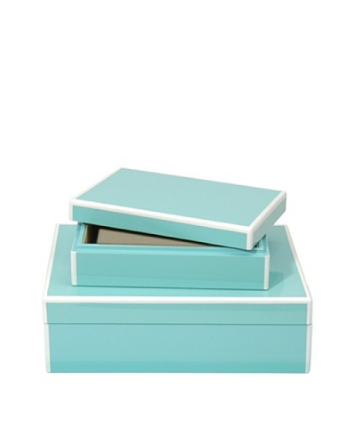 Swing Design Set of 2 Elle Lacquer Storage Boxes [Turquoise]