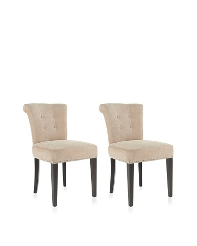 Safavieh Mercer Collection Matthew Beige Polyester Dining Chair, Set of 2