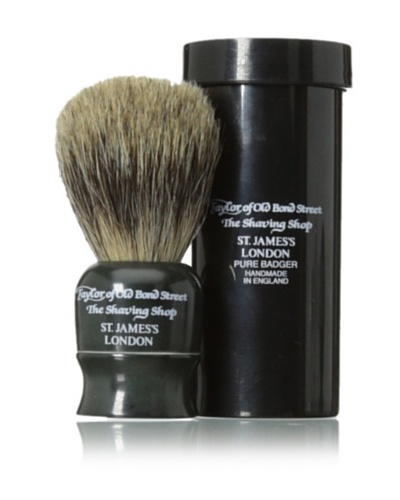 Taylor of Old Bond Street Pure Badger Travel Shaving Brush with Case, Black, 8.25 cm