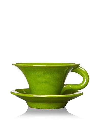 Terafeu Terafour 6.5-Oz. Tea Cup and Saucer [Green]