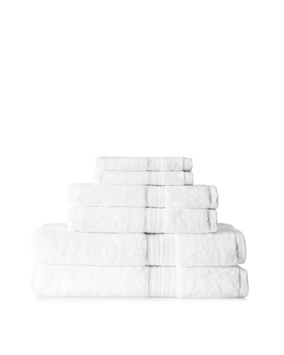 Terrisol Cotton/Rayon from Bamboo 6-Piece Towel, White