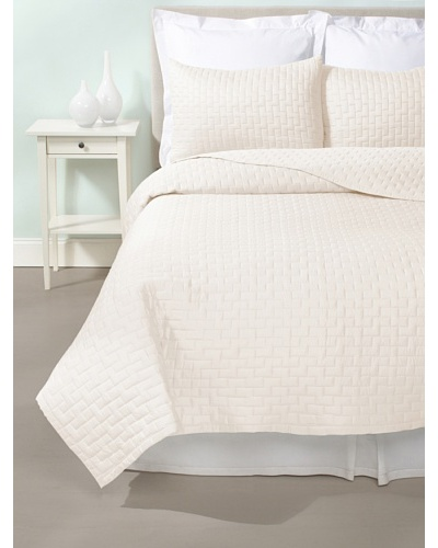Terrisol Quilted Brick Coverlet Set [Ivory]