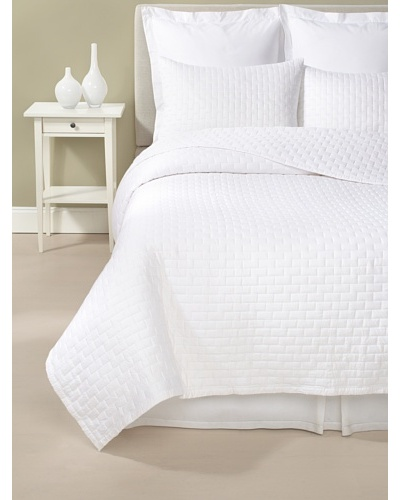 Terrisol Rayon from Bamboo Quilted Brick Coverlet Set, White, King