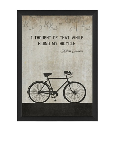 The Artwork Factory Bicycle Einstein Framed Giclée, White