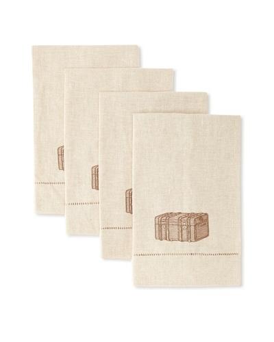 D.L. Rhein Set of 4 Travel Set Guest Towels, Vintage Trunk