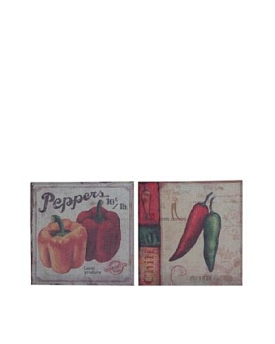 Set of 2 Burlap Pepper Wall Décor