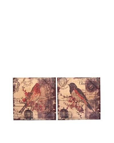 Set of 2 Burlap Birds