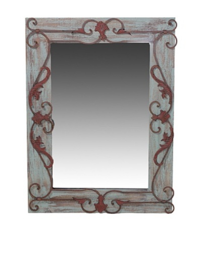 Wooden Mirror with Metal