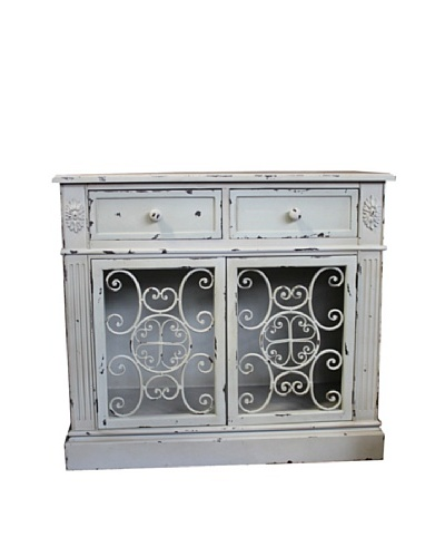 Two Drawer Cabinet White Antique