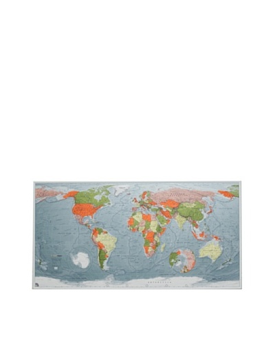 The Future Mapping Company Version 2 World Map, Blue/Emerald/Orange, 26 x 47.25As You See