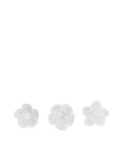 The HomePort Collection Set of 3 White Floral Magnets, White
