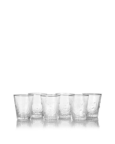 The HomePort Collection Set of 6 Lela Cordial Glasses, Clear
