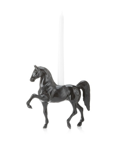 The HomePort Collection Trotting Gallant Horse Candle Holder, Black