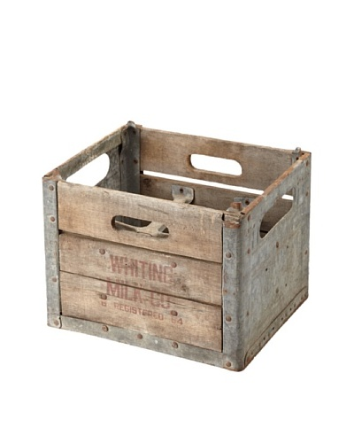 The HomePort Collection Vintage Half-Gallon Milk Crate