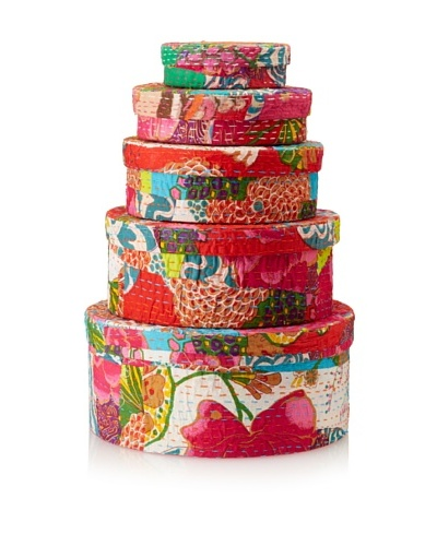 The HomePort Collection Set of 5 Nested Patchwork Boxes, Multi