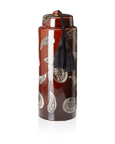 Barclay Butera Marrakesh Paisley Ceramic Jar with Tassel, Red, Tall
