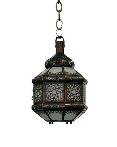 Badia Metal Lantern with White-Colored Glass