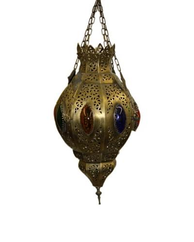 Badia Tria Brass and Glass Lantern, Blue/Amber/Green/Red