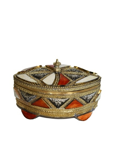 Badia Metal and Bone Oval Jewelry Box