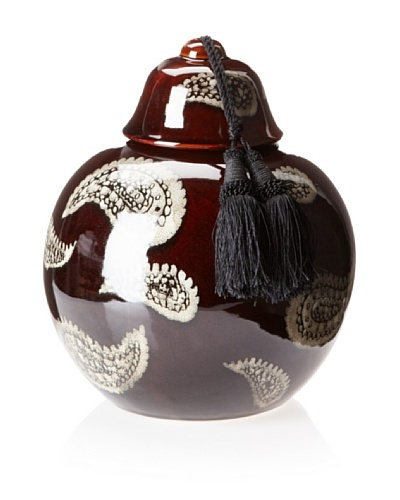 Barclay Butera Marrakesh Paisley Ceramic Jar with Tassel