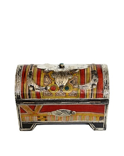Badia Hand-Painted Leather and Wood Jewelry Box